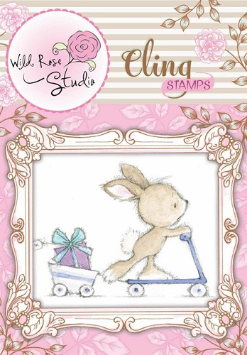 Wild Rose Studio`s - Cling Stamp - Bunny on Scooter - CS303