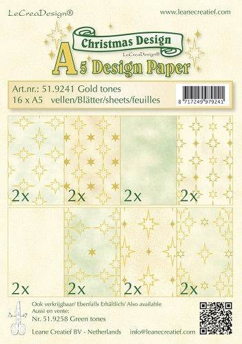 Leane Creatief - Paperpack - Christmas Design - Gold tones - 51.9241