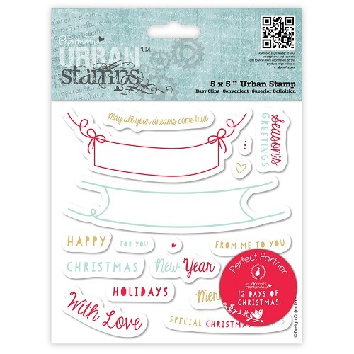 Papermania - Cling Stamp - 12 Days of Christmas - Word Banner - PMA907906