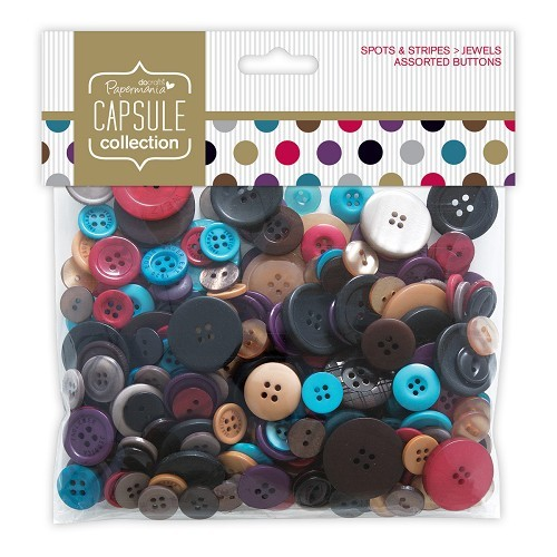Papermania - Assorted Buttons - Capsule Collection - Spots & Stripes: Jewels - PMA354310