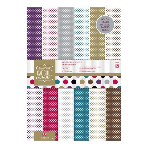 Docrafts - Papermania - Paperpack - A4 - Spots & Stripes Jewels