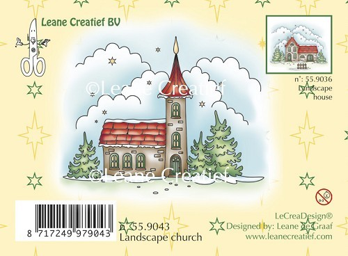 Leane Creatief - Clearstamp - Winter landscape church - 55.9043