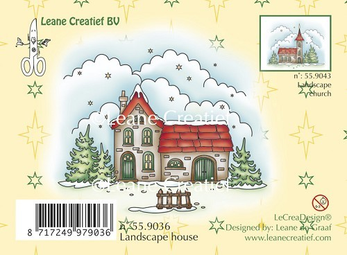 Leane Creatief - Clearstamp - Winter landscape house - 55.9036