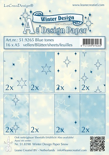 Leane Creatief - Paperpack - Winter Design - Blue tones - 51.9265