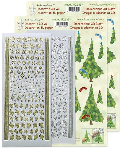 LeCreaDesign - Kaartenpakket - Kerstboom 3D set - 50.9357