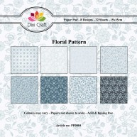 Dixi Craft - Paperpack - Floral Pattern: Blue - PP0004