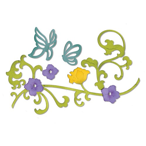 Sizzix - Die - Thinlits - Butterflies & Flower Vine