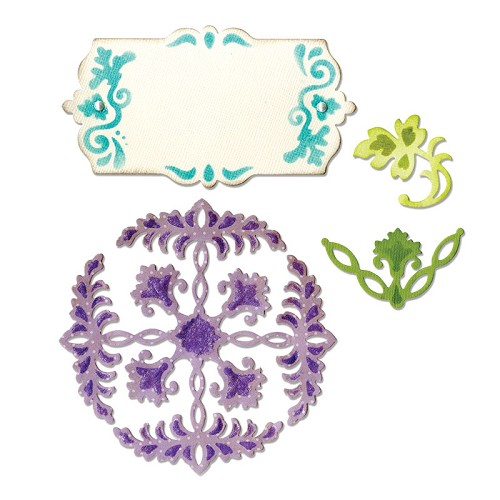 Sizzix - Die - Thinlits - Ornate Flowers & Tag