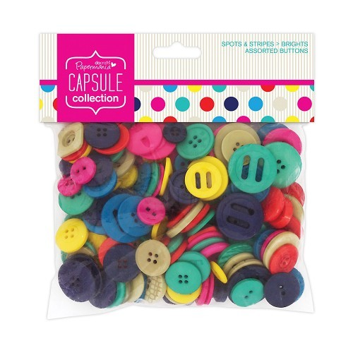 Papermania - Assorted Buttons - Capsule Collection - Spots & Stripes: Brights - PMA354303