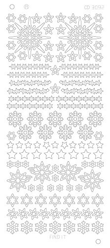 Card Deco - Stickervel - Platinum - Various Stars Snowflake: Zilver - CD3092