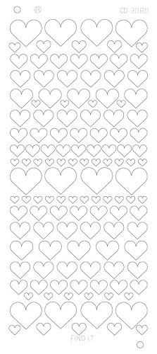 Card Deco - Stickervel - Platinum - Hearts Various: Zilver - CD3080