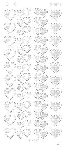 Card Deco - Stickervel - Platinum - Hearts Various: Zilver - CD3079