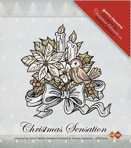 Yvonne Creations - Clearstamp - Christmas Sensation - Flowers and Candles - CDST10021