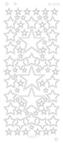 Card Deco - Stickervel - Platinum - Stars various sizes: Zilver - CD3096