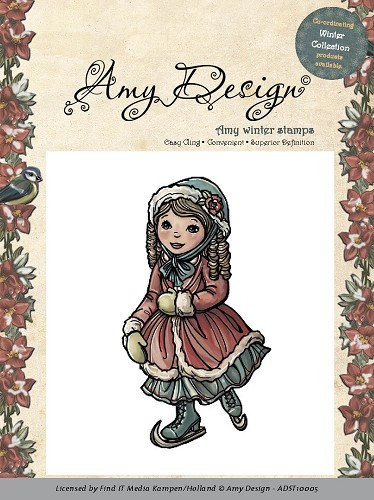Amy Design - Cling Stamp - Winter Collection - Skating girl - ADST10005