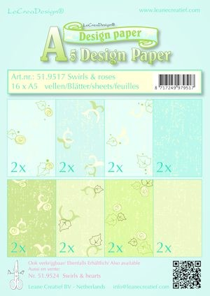 Leane Creatief - Paperpack - Design Paper - Swirls & roses - 51.9517