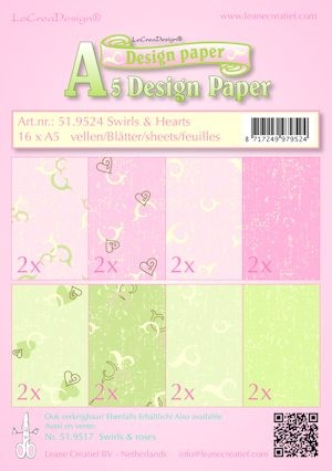 Leane Creatief - Paperpack - Design Paper - Swirls & hearts - 51.9524