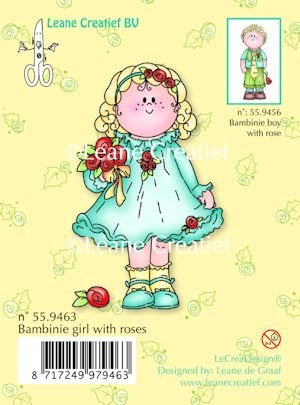 Leane Creatief - Clearstamp - Bambinie girl with rose - 55.9463