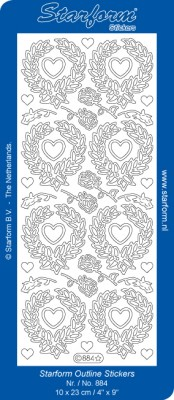 Starform - Stickervel - Afbeeldingen - Heart wreaths: Zilver - 884