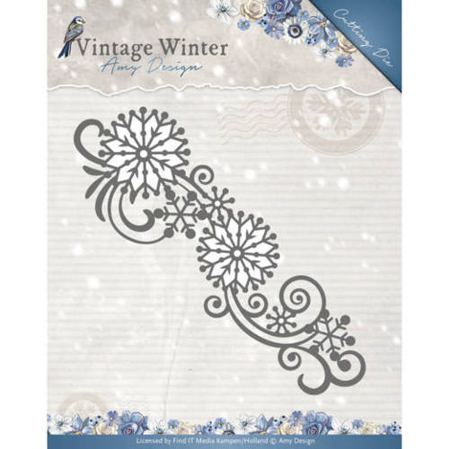 Amy Design - Die - Vintage Winter - Snowflake Swirl Border - ADD10123